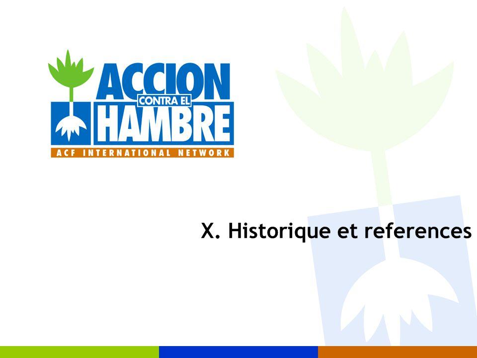 X. Historique et references