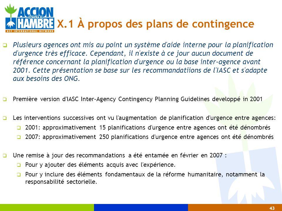 X.1 À propos des plans de contingence