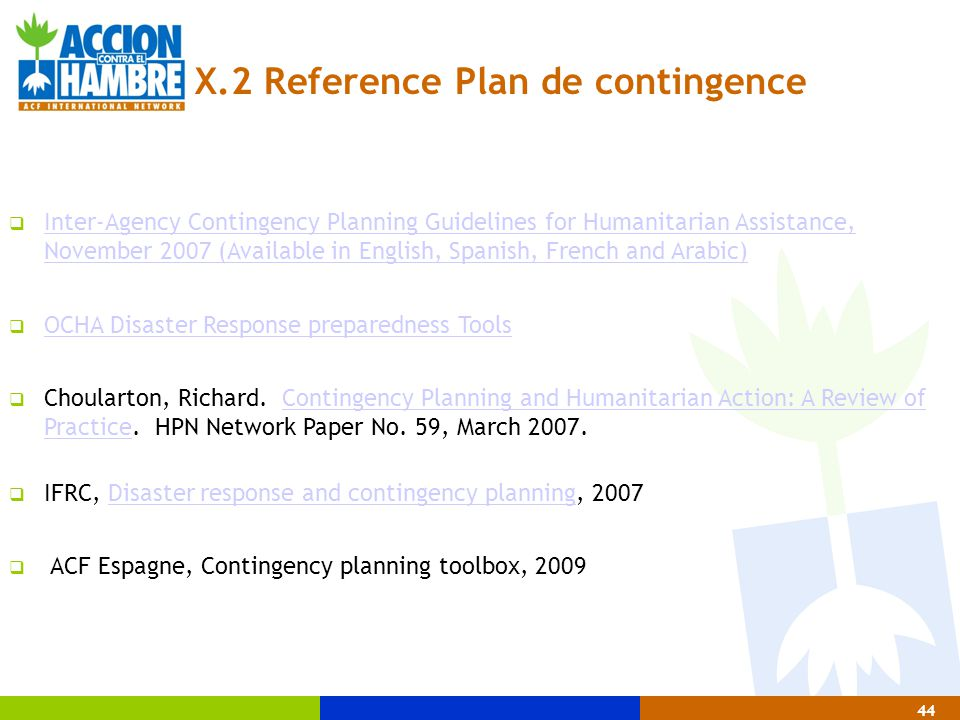 X.2 Reference Plan de contingence