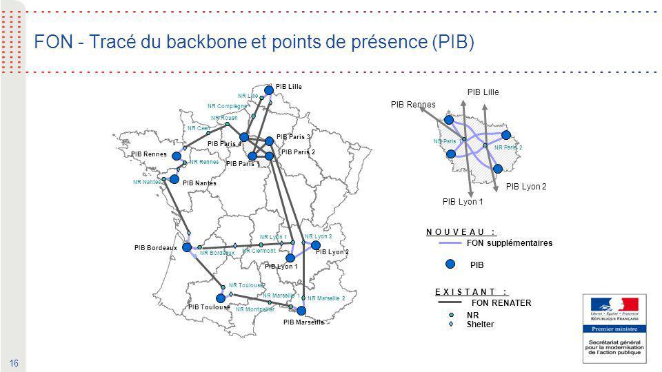FON - Tracé du backbone et points de présence (PIB)
