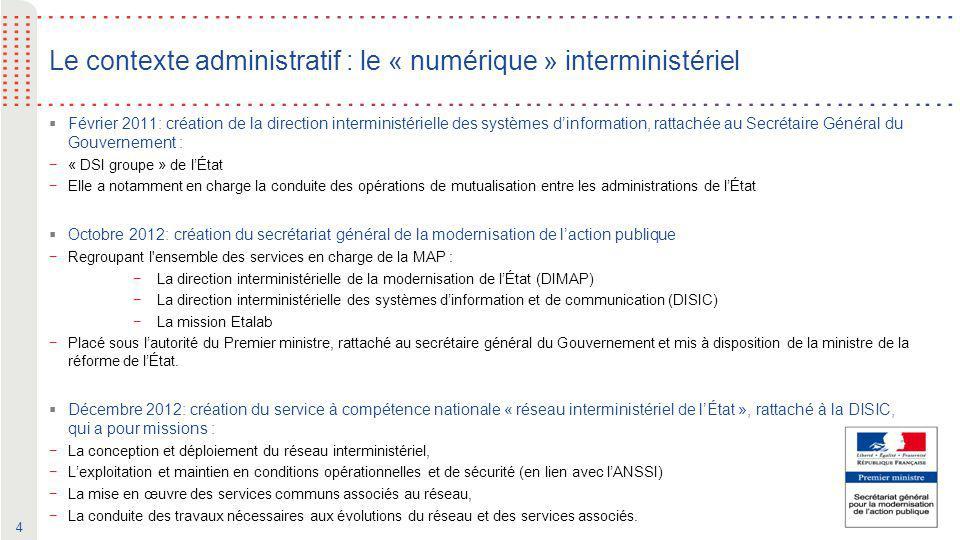 Le contexte administratif : le « numérique » interministériel