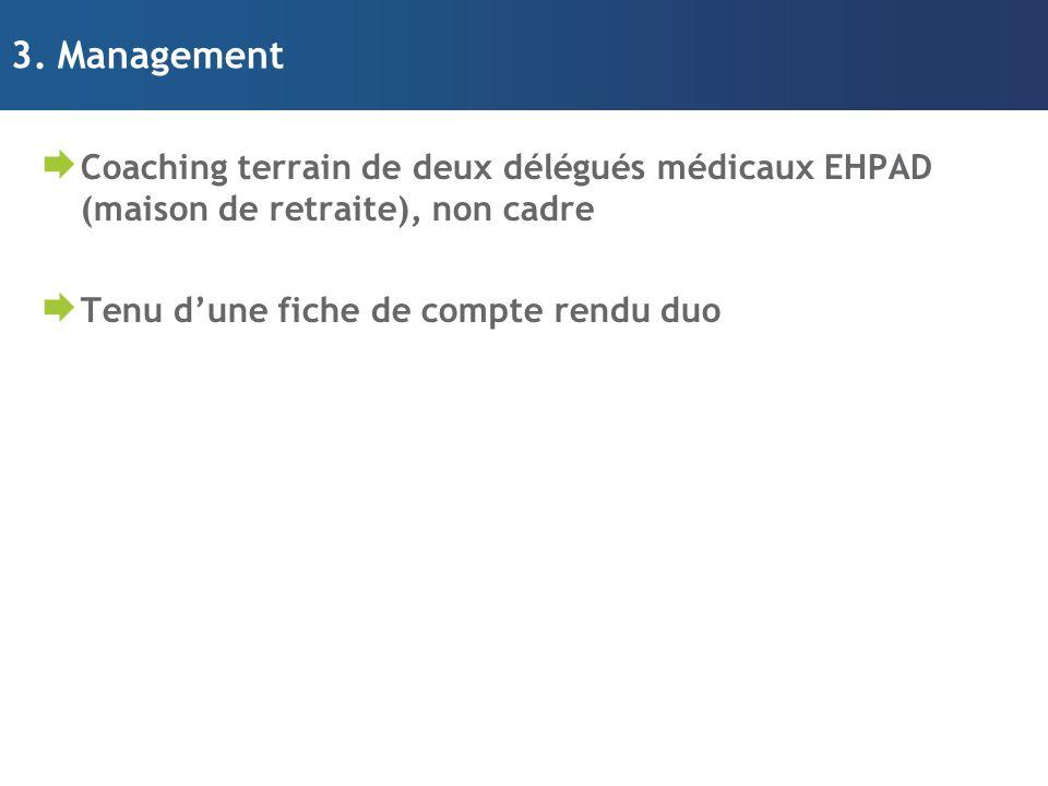 3. Management Coaching terrain de deux délégués médicaux EHPAD (maison de retraite), non cadre.