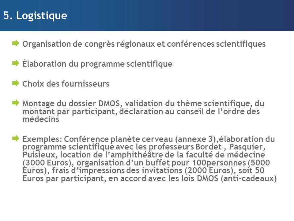 5. Logistique Organisation de congrès régionaux et conférences scientifiques. Élaboration du programme scientifique.