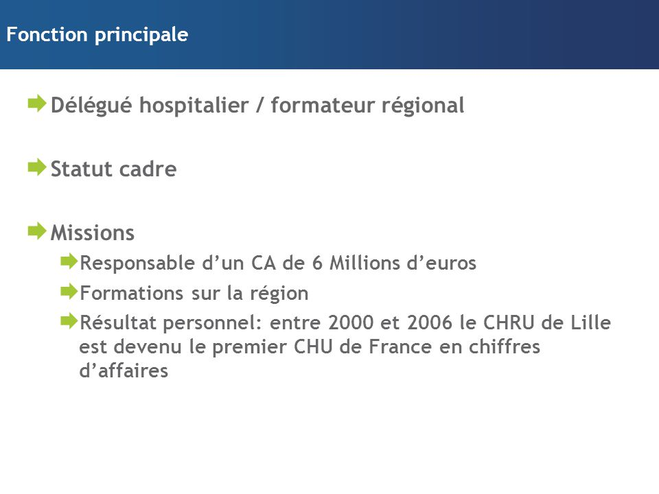 Délégué hospitalier / formateur régional Statut cadre Missions