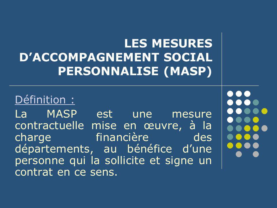 LES MESURES D'ACCOMPAGNEMENT SOCIAL PERSONNALISE (MASP)