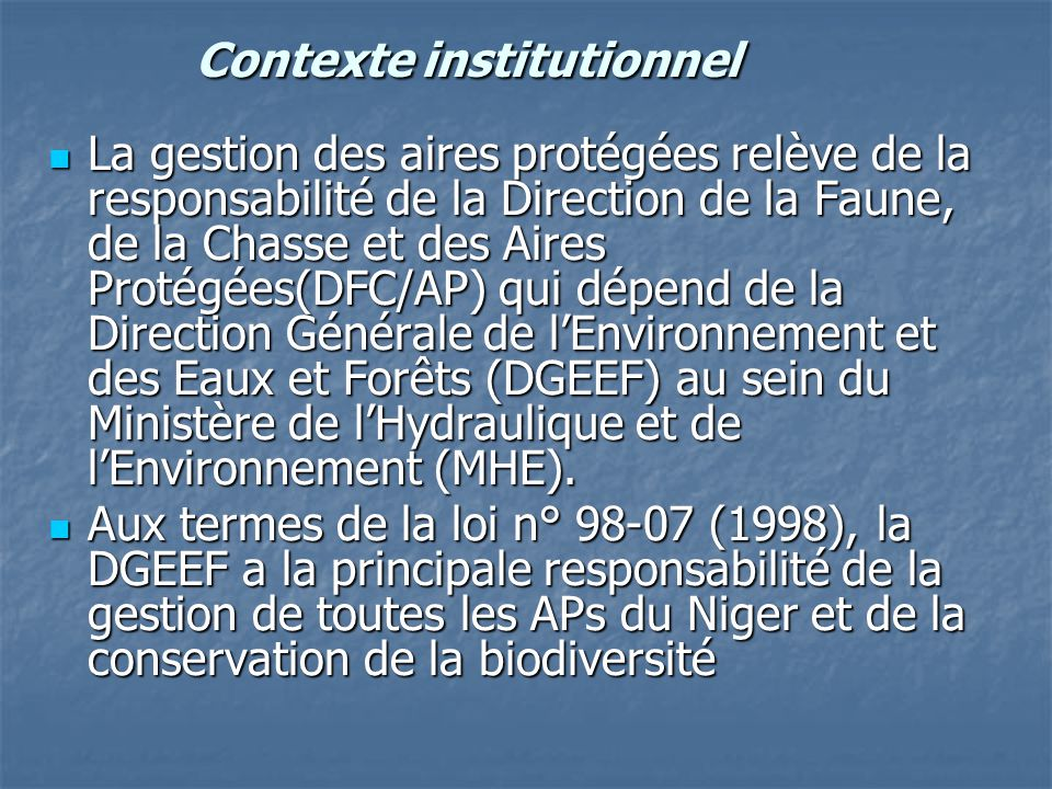Contexte institutionnel