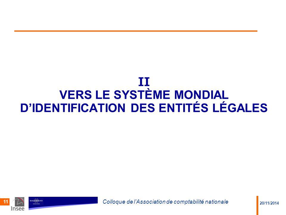 II Vers le système Mondial d'identification des entités légales