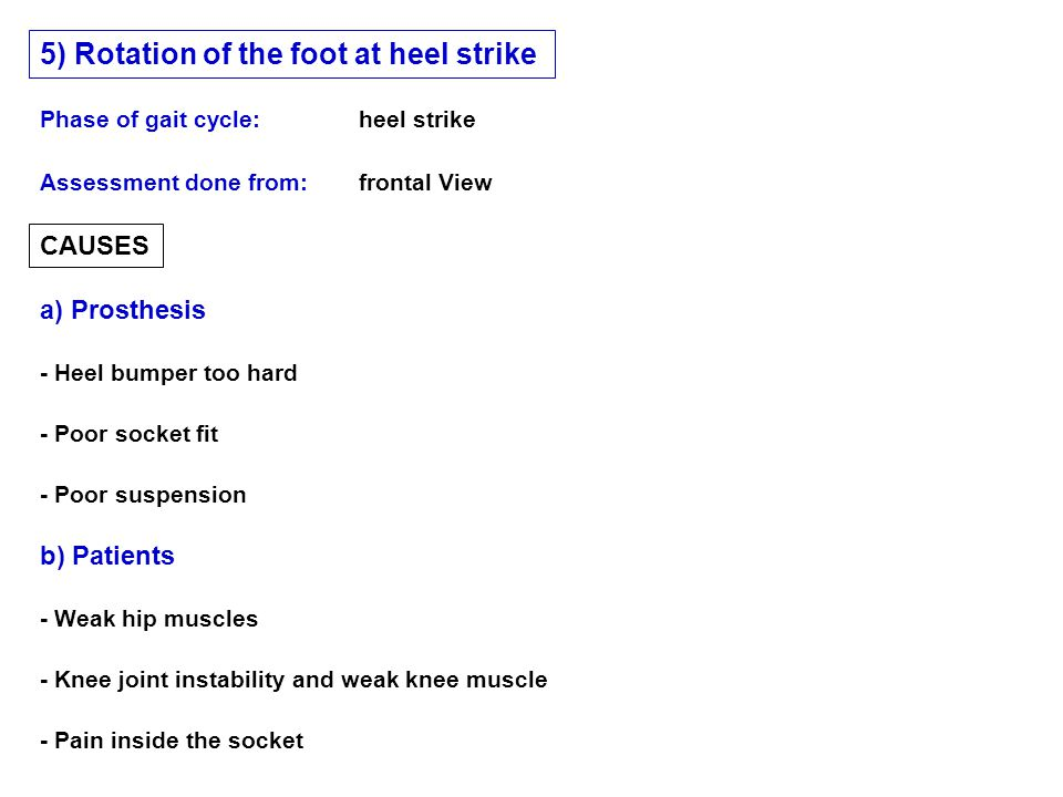 5) Rotation of the foot at heel strike