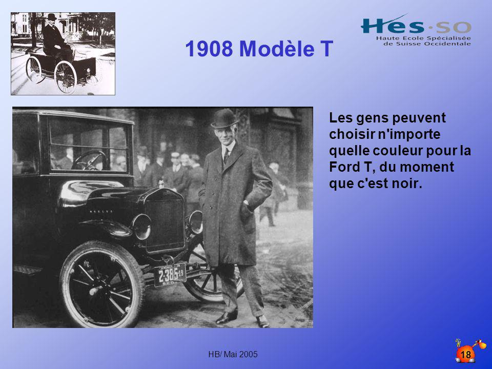 1908 Modèle T Les gens peuvent choisir n importe quelle couleur pour la Ford T, du moment que c est noir.