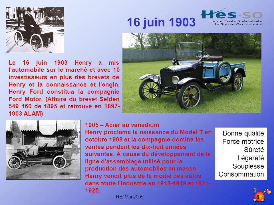 16 juin 1903 Bonne qualité Force motrice Sûreté Légèreté Souplesse
