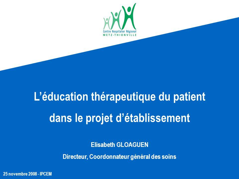 L'éducation thérapeutique du patient dans le projet d'établissement
