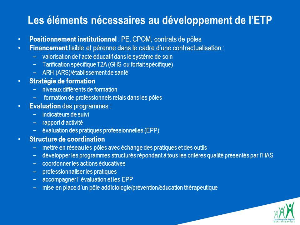 Les éléments nécessaires au développement de l'ETP