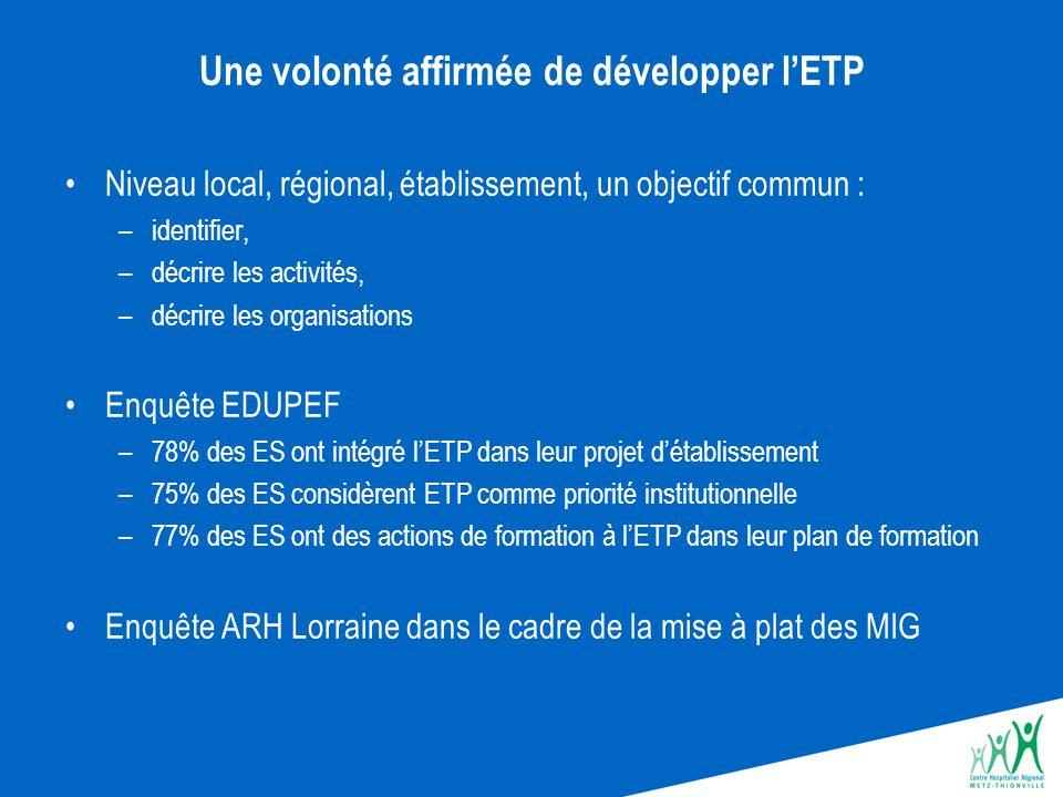 Une volonté affirmée de développer l'ETP