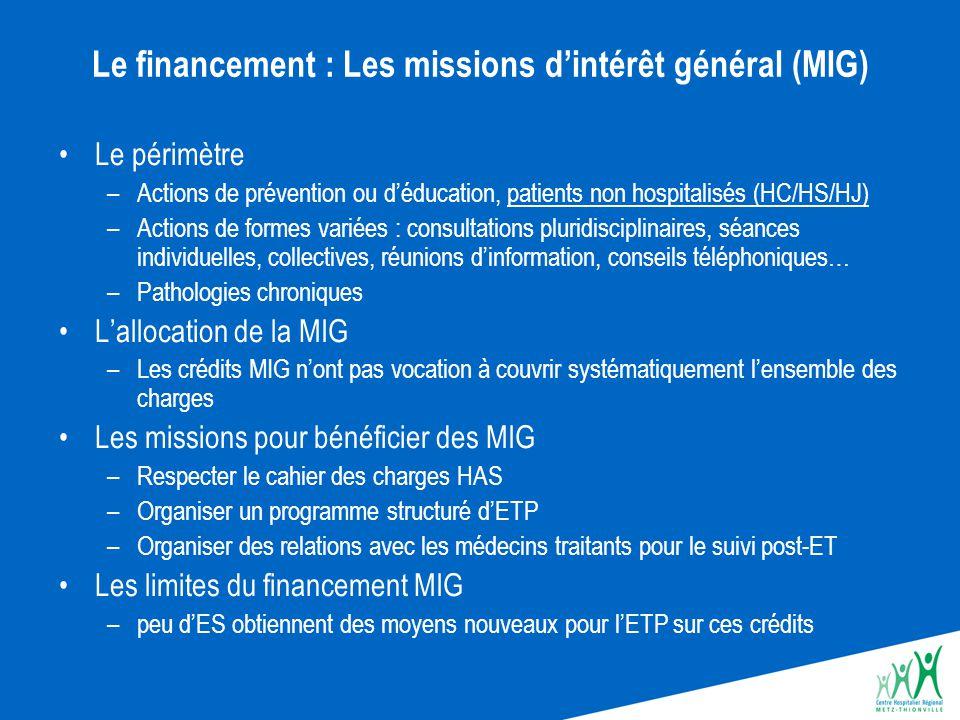 Le financement : Les missions d'intérêt général (MIG)