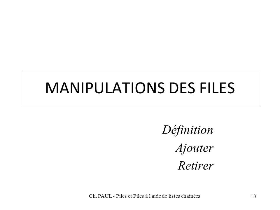 MANIPULATIONS DES FILES