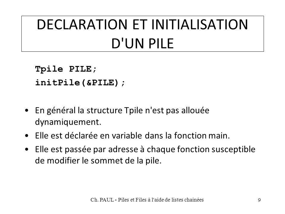 DECLARATION ET INITIALISATION D UN PILE