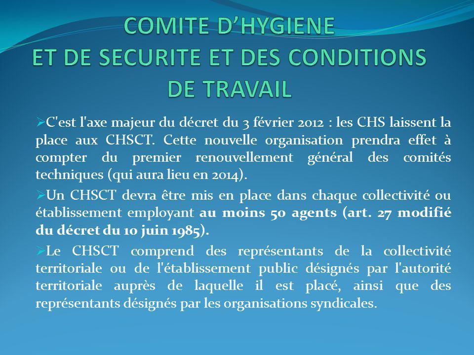 COMITE D'HYGIENE ET DE SECURITE ET DES CONDITIONS DE TRAVAIL