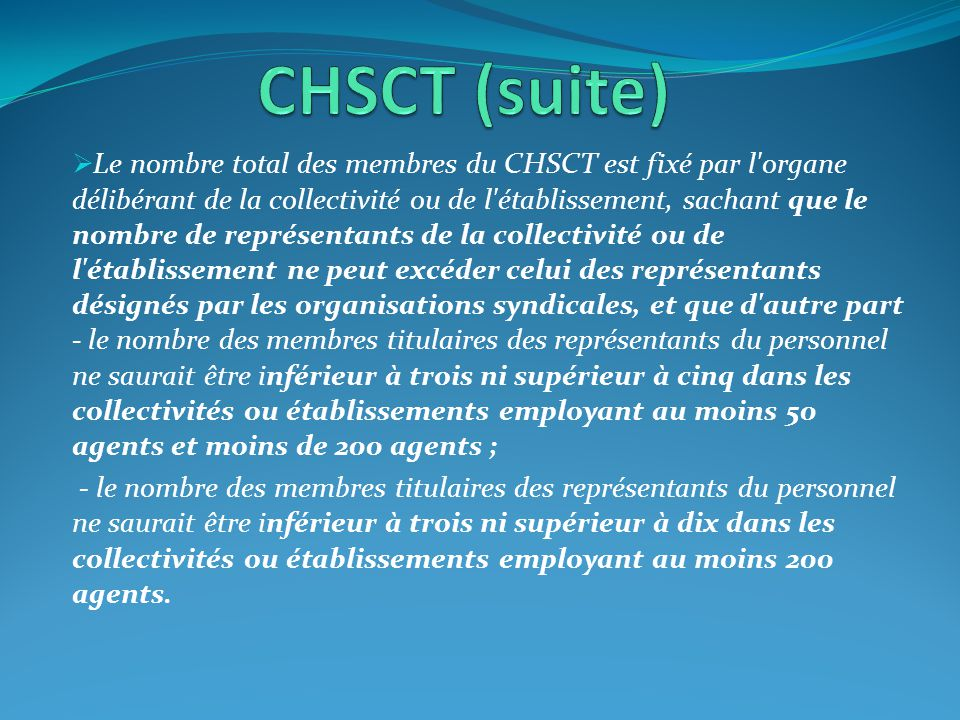 CHSCT (suite)