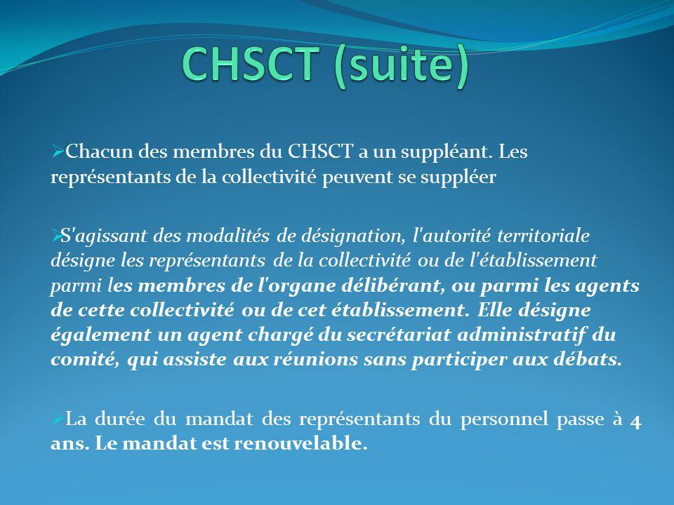 CHSCT (suite) Chacun des membres du CHSCT a un suppléant. Les représentants de la collectivité peuvent se suppléer.