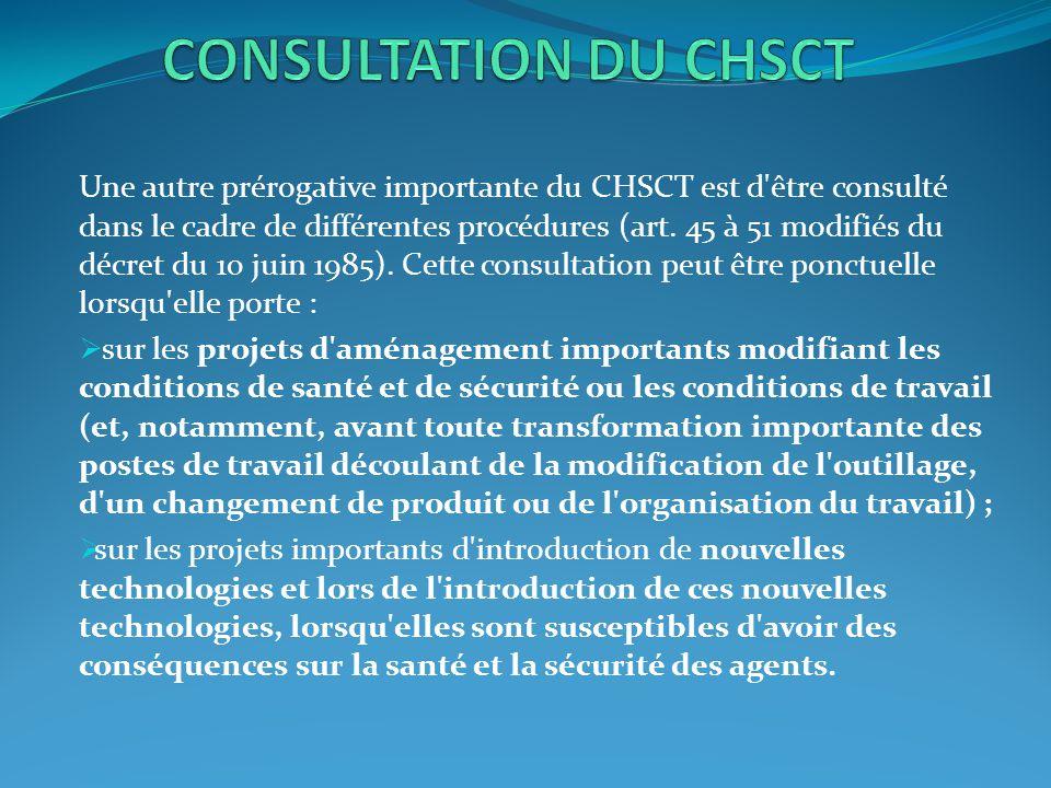 CONSULTATION DU CHSCT