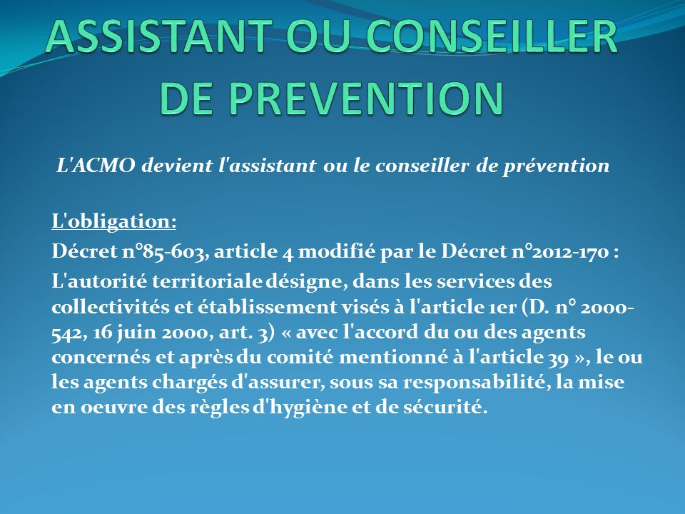 ASSISTANT OU CONSEILLER DE PREVENTION