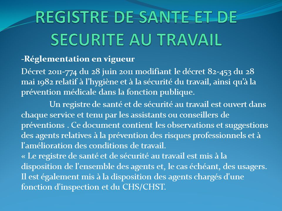 REGISTRE DE SANTE ET DE SECURITE AU TRAVAIL
