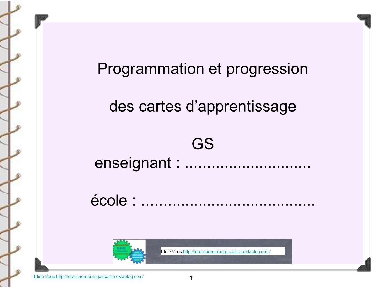 Programmation et progression des cartes d'apprentissage GS