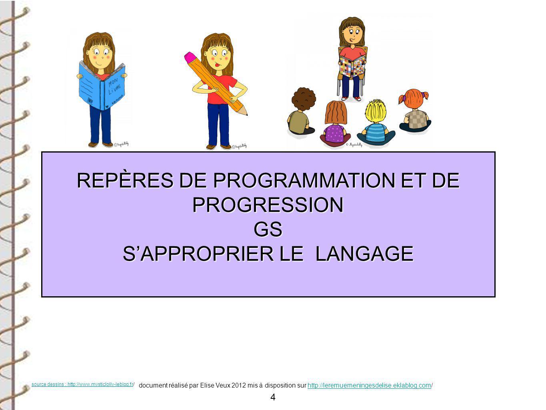 REPÈRES DE PROGRAMMATION ET DE PROGRESSION GS S'APPROPRIER LE LANGAGE