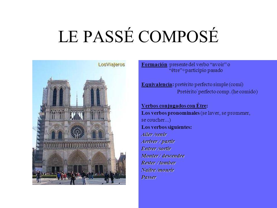 LE PASSÉ COMPOSÉ Formación: presente del verbo avoir o être +participio pasado. Equivalencia: pretérito perfecto simple (comí)