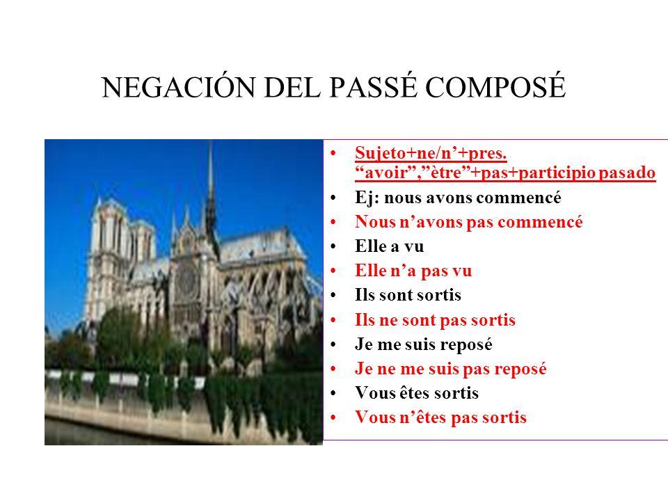 NEGACIÓN DEL PASSÉ COMPOSÉ