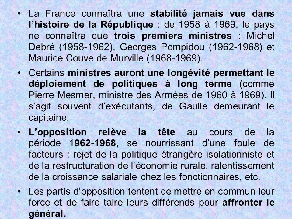 La France connaîtra une stabilité jamais vue dans l'histoire de la République : de 1958 à 1969, le pays ne connaîtra que trois premiers ministres : Michel Debré (1958-1962), Georges Pompidou (1962-1968) et Maurice Couve de Murville (1968-1969).