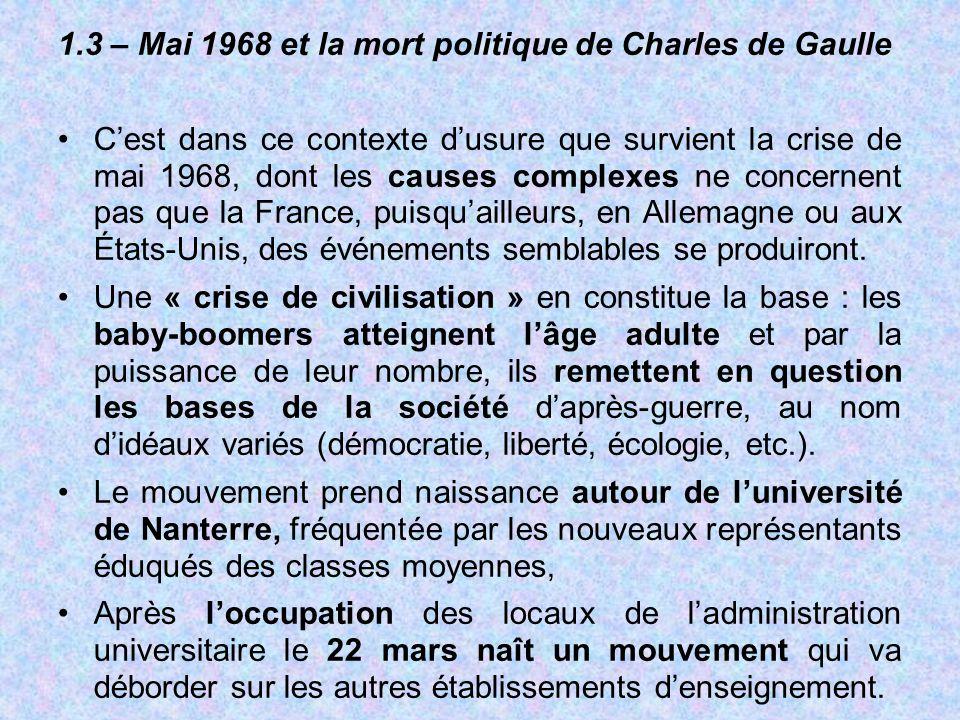 1.3 – Mai 1968 et la mort politique de Charles de Gaulle