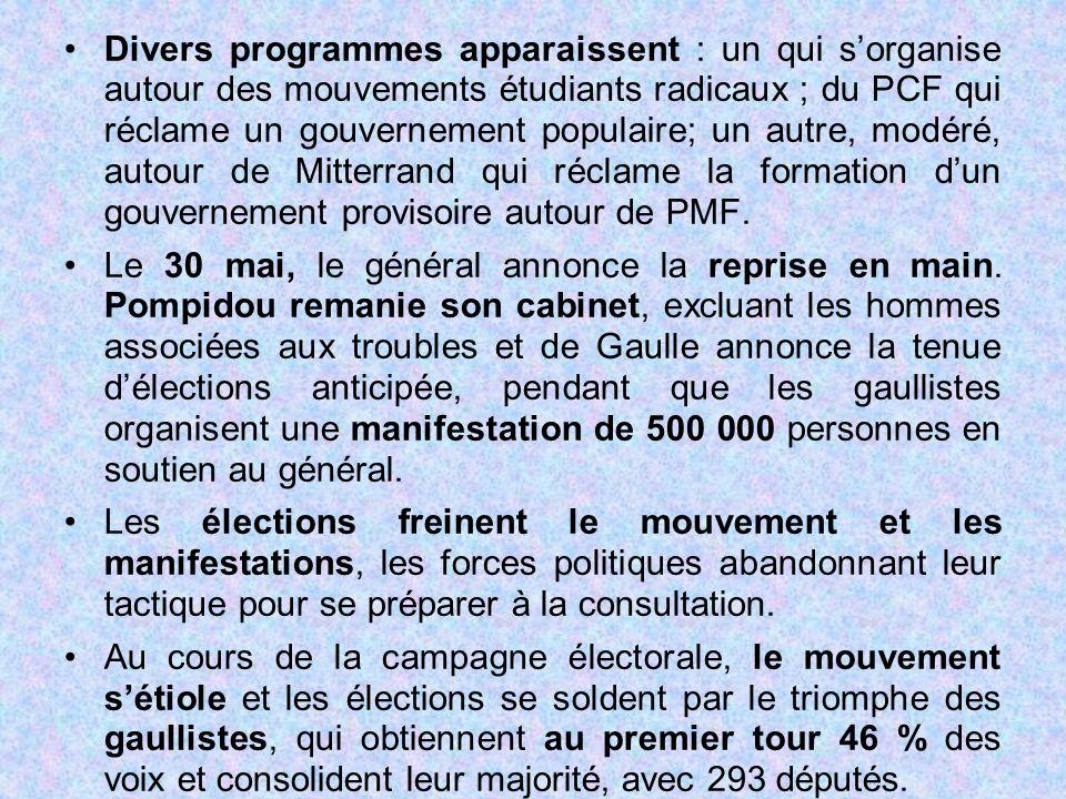 Divers programmes apparaissent : un qui s'organise autour des mouvements étudiants radicaux ; du PCF qui réclame un gouvernement populaire; un autre, modéré, autour de Mitterrand qui réclame la formation d'un gouvernement provisoire autour de PMF.
