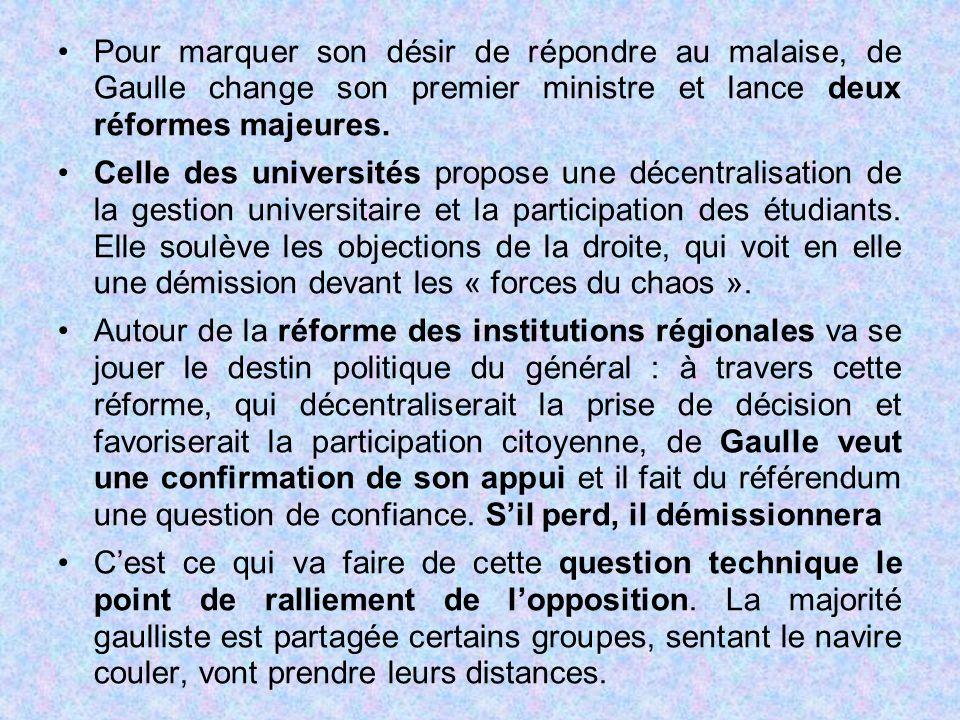 Pour marquer son désir de répondre au malaise, de Gaulle change son premier ministre et lance deux réformes majeures.