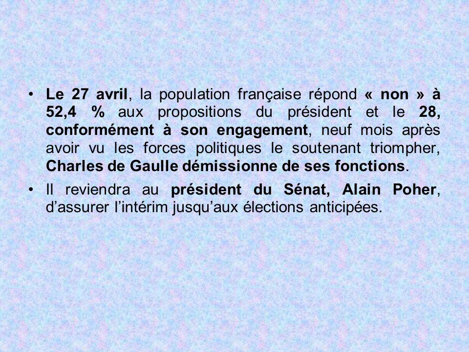 Le 27 avril, la population française répond « non » à 52,4 % aux propositions du président et le 28, conformément à son engagement, neuf mois après avoir vu les forces politiques le soutenant triompher, Charles de Gaulle démissionne de ses fonctions.