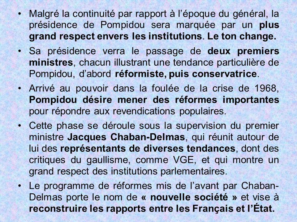 Malgré la continuité par rapport à l'époque du général, la présidence de Pompidou sera marquée par un plus grand respect envers les institutions. Le ton change.