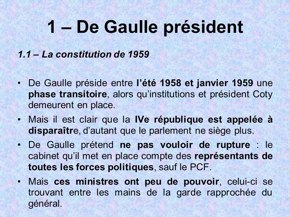 1 – De Gaulle président 1.1 – La constitution de 1959