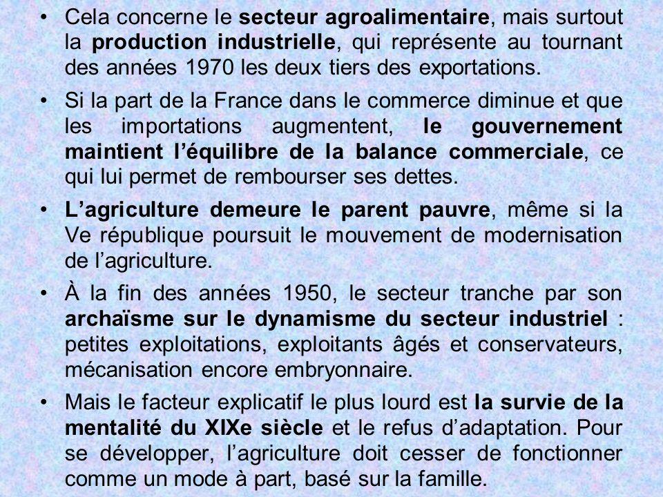 Cela concerne le secteur agroalimentaire, mais surtout la production industrielle, qui représente au tournant des années 1970 les deux tiers des exportations.