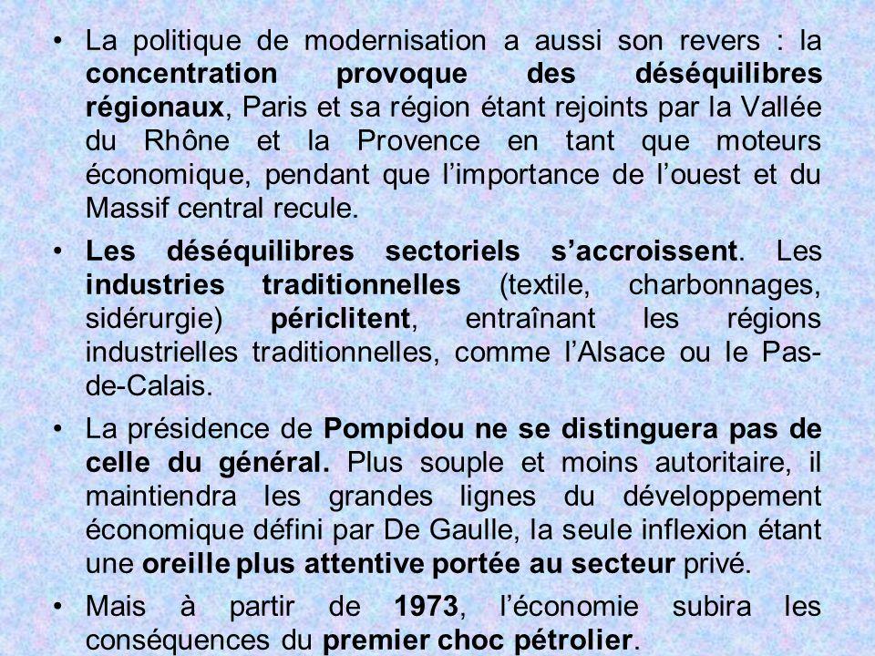 La politique de modernisation a aussi son revers : la concentration provoque des déséquilibres régionaux, Paris et sa région étant rejoints par la Vallée du Rhône et la Provence en tant que moteurs économique, pendant que l'importance de l'ouest et du Massif central recule.
