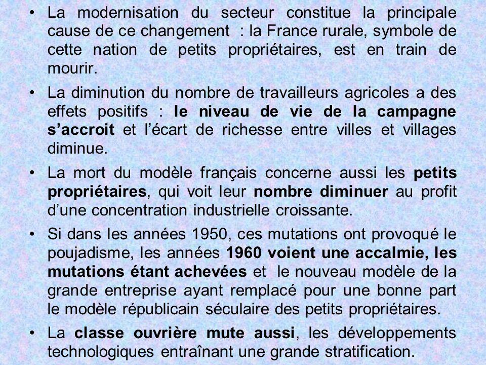 La modernisation du secteur constitue la principale cause de ce changement : la France rurale, symbole de cette nation de petits propriétaires, est en train de mourir.
