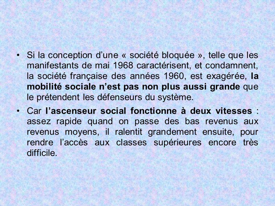 Si la conception d'une « société bloquée », telle que les manifestants de mai 1968 caractérisent, et condamnent, la société française des années 1960, est exagérée, la mobilité sociale n'est pas non plus aussi grande que le prétendent les défenseurs du système.