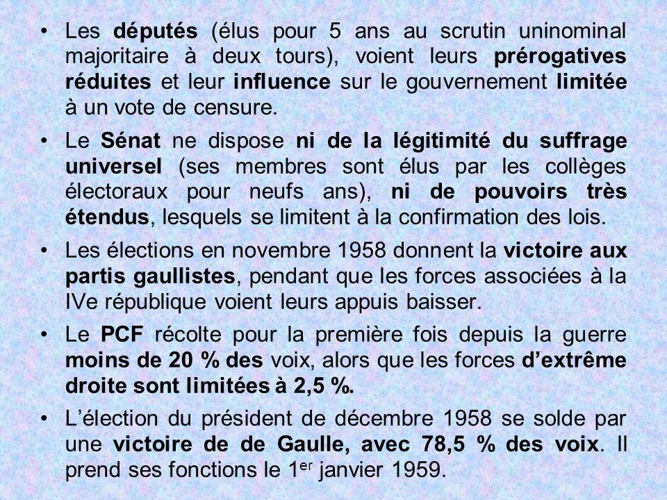 Les députés (élus pour 5 ans au scrutin uninominal majoritaire à deux tours), voient leurs prérogatives réduites et leur influence sur le gouvernement limitée à un vote de censure.