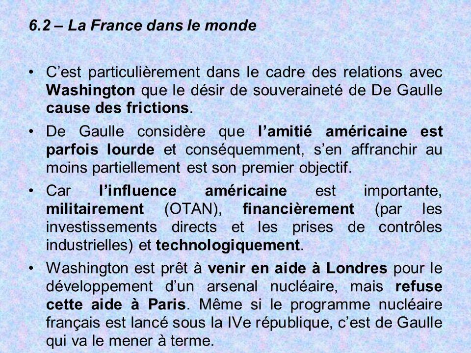 6.2 – La France dans le monde