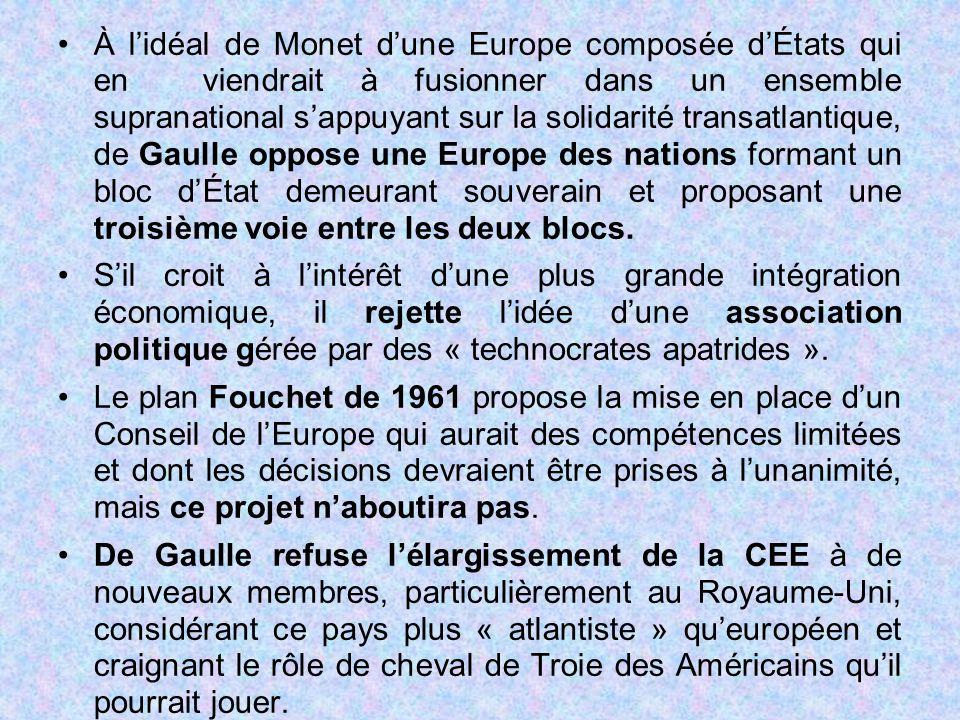 À l'idéal de Monet d'une Europe composée d'États qui en viendrait à fusionner dans un ensemble supranational s'appuyant sur la solidarité transatlantique, de Gaulle oppose une Europe des nations formant un bloc d'État demeurant souverain et proposant une troisième voie entre les deux blocs.