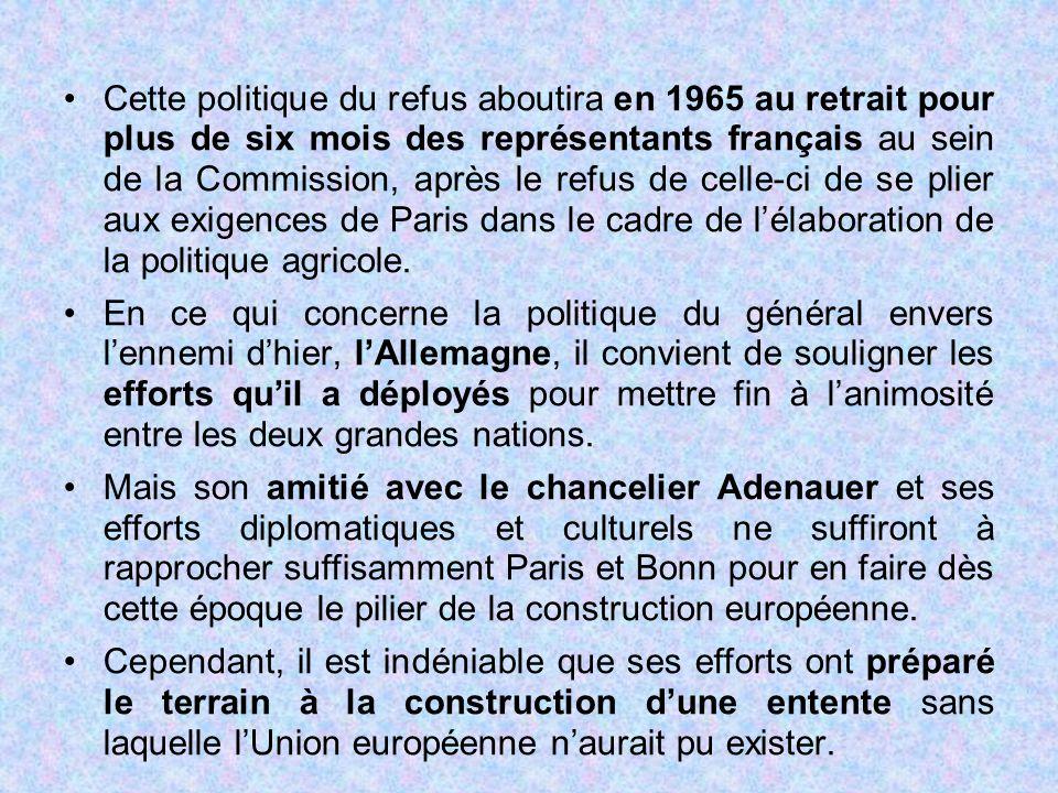 Cette politique du refus aboutira en 1965 au retrait pour plus de six mois des représentants français au sein de la Commission, après le refus de celle-ci de se plier aux exigences de Paris dans le cadre de l'élaboration de la politique agricole.