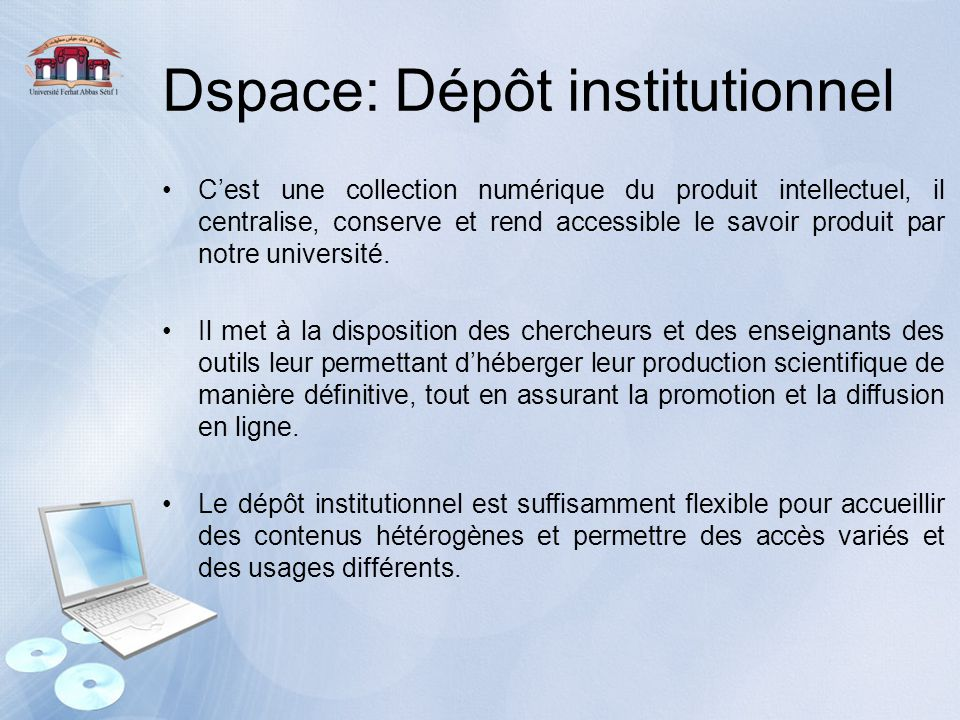 Dspace: Dépôt institutionnel
