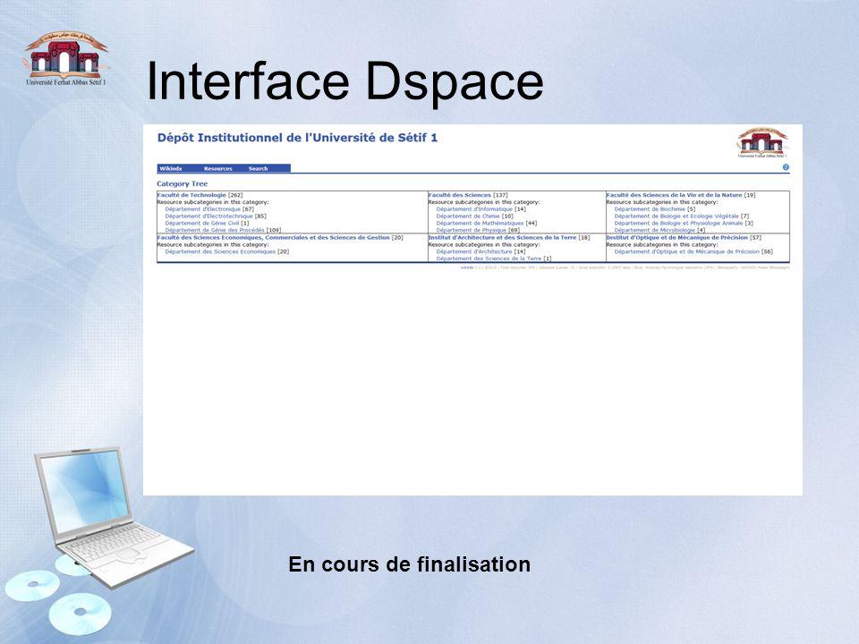 Interface Dspace En cours de finalisation
