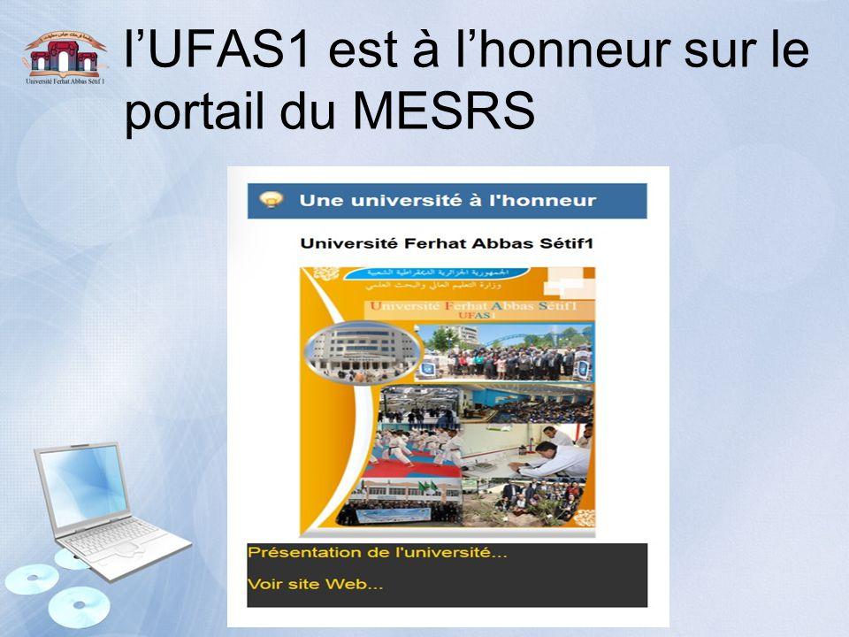 l'UFAS1 est à l'honneur sur le portail du MESRS