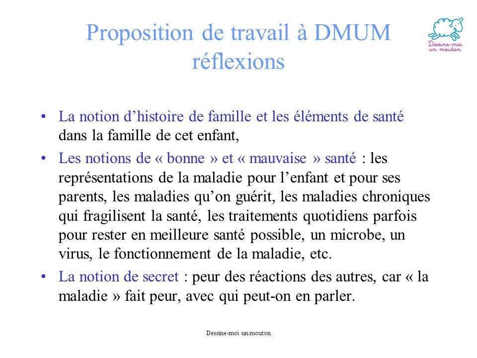Proposition de travail à DMUM réflexions