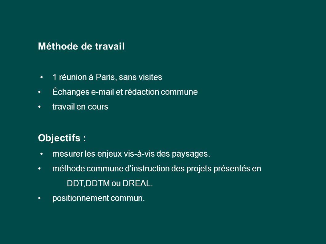 Méthode de travail Objectifs : • 1 réunion à Paris, sans visites